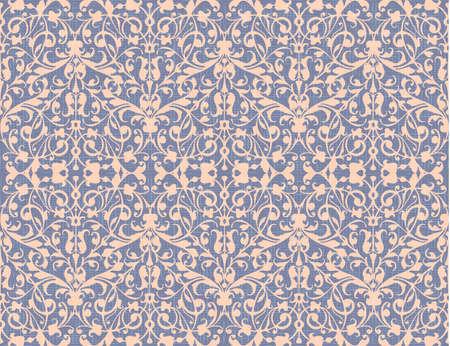 Remolino abstracto vintage, vector de fondo sin patrón, estilo damasco, textura de lienzo violeta