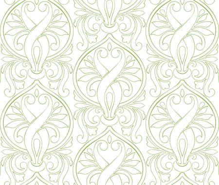 Greenery damascus seamless pattern background, vector illustration. Spring color 2017, wallpaper design, vintage decoration