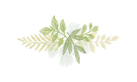 Greenery botanical hand drawn leaf decoration.
