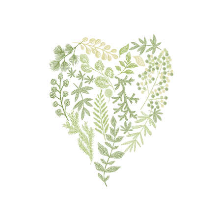 Greenery floral hand drawn composition in form of heart.