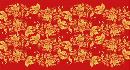 Hohloma branch waves seamless pattern fabric texture vector. Russian traditional decoration in red and gold colors. Classic khokhloma background