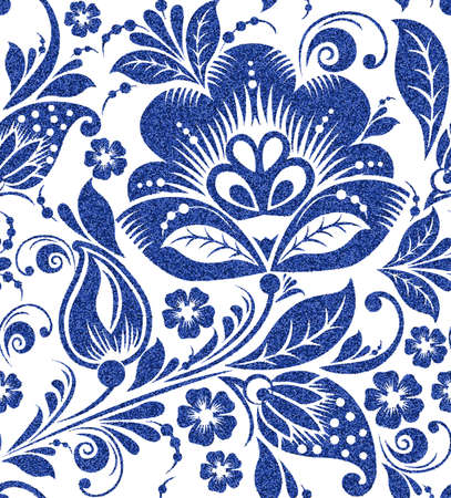 abstract paintings: blue glittering floral seamless pattern on white background Stock Photo