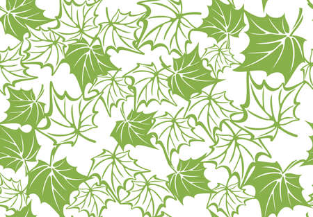 abstract flowers: Greenery maple leaf seamless pattern background illustration. Spring color 2017, eco floral wrapping paper design