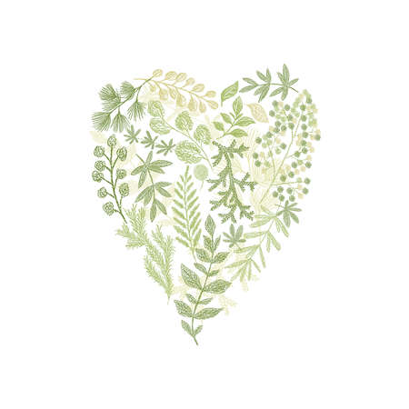Floral hand drawn bouquet in form of heart. green leaf arrangement isolated on white background. Love card cover design Stock Photo