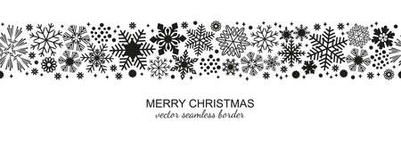 Black and white seamless snowflake border, Christmas design for greeting card. Vector illustration, merry xmas snow flake header or banner, wallpaper or backdrop decor