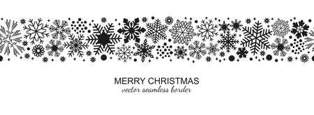 Zwart-witte naadloze sneeuwvlokgrens, Kerstmisontwerp voor groetkaart. Vectorillustratie, vrolijke de vlokbal van de Kerstmissneeuw of banner, behang of achtergronddecor