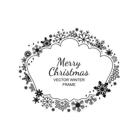 Monochrome snowflake frame, festive decoration on white background, Christmas design for invitation, greeting card or postcard. Vector illustration, merry xmas snow flake framework