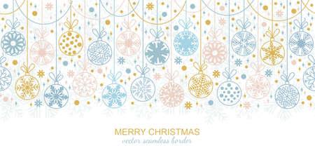 Seamless snowflake garland border isolated on white background, Christmas design. illustration, merry xmas flake header or banner, wallpaper or backdrop decor Foto de archivo