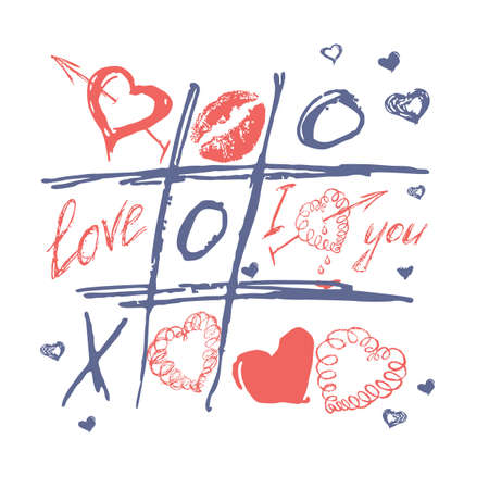 Tic tac toe, valentines day love background. Hand drawn cross-zero game with doodle heart, arrows and lips, color vector illustration. Romantic happy holiday design