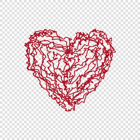 Hand drawn doodle heart on transparent background, happy valentines day, red vector illustration. Cute love wallpaper. Abstract design, romantic holiday decoration Illustration