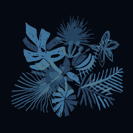 Neon tropical flower composition, hand drawn leaf, vector illustration isolated on black background, duotone style. Floral bouquet, exotic plant, doodle  art 矢量图像
