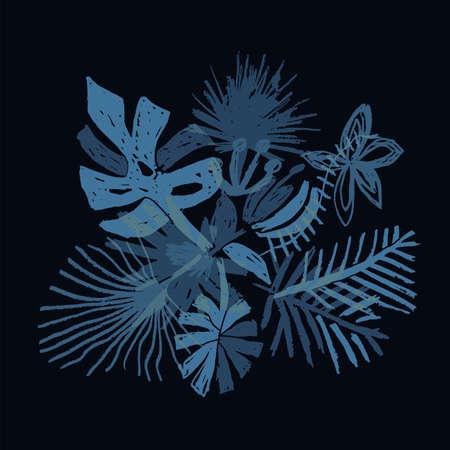 Neon tropical flower composition, hand drawn leaf, vector illustration isolated on black background, duotone style. Floral bouquet, exotic plant, doodle  art Illusztráció