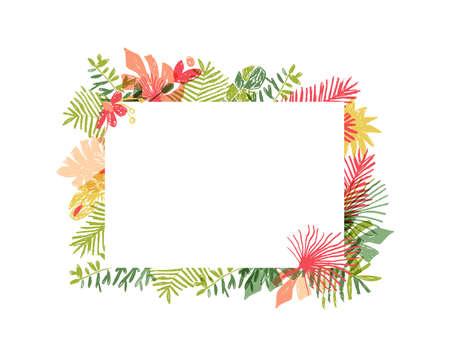 Composition de fleurs tropicales dessinés à la main, encadrement botanique. Illustration vectorielle isolée sur fond blanc. Cadre de jungle florale, cadre de feuille de plante exotique, laisse flamingle