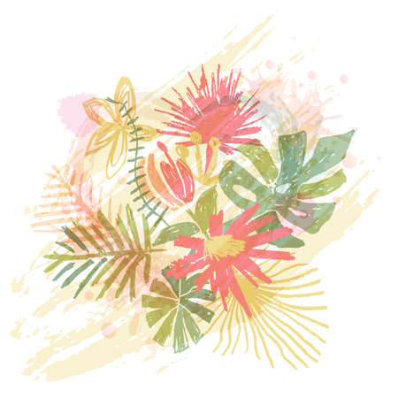 Tropical flower bouquet, hand drawn leaf, vector illustration isolated on white background. Floral composition, exotic plant, watercolor doodle style