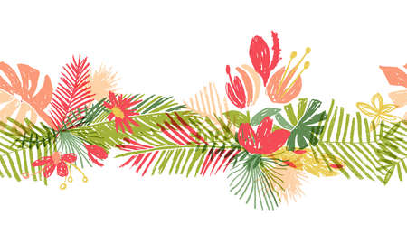 Tropical flower hand drawn header, illustration isolated on white background. Floral bouquet, exotic plant leaf, doodle style