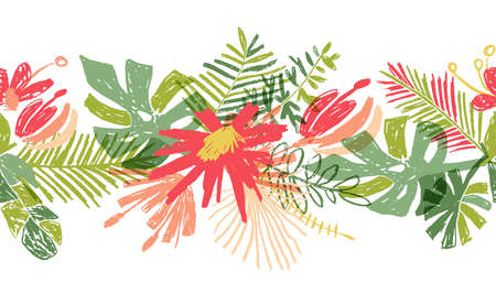 Tropical flower hand drawn header or border, illustration isolated on white background. Floral bouquet, exotic plant leaf, botanical composition in doodle style Stockfoto