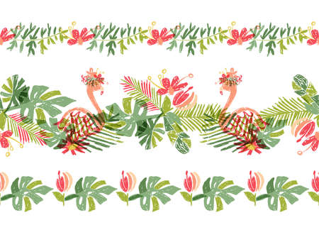Tropical flower and flamingo bird, hand drawn tropic header or border line, illustration isolated on white background. Floral bouquet, exotic plant leaf and bird, lets flamingle Stockfoto