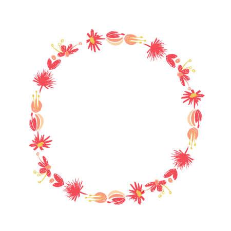 Hand drawn tropical flower composition, botanical circle wreath, duotone style. illustration isolated on white background. Floral jungle paradise, exotic plant leaf border