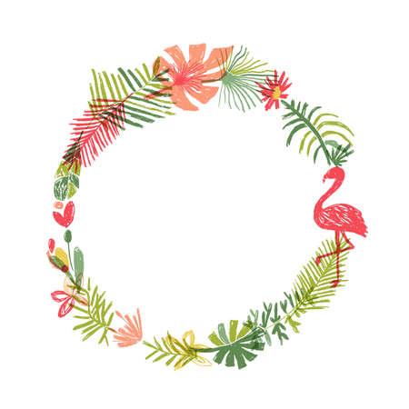 Tropical flower and flamingo bird wreath. illustration isolated on white background. Floral paradise, jungle border