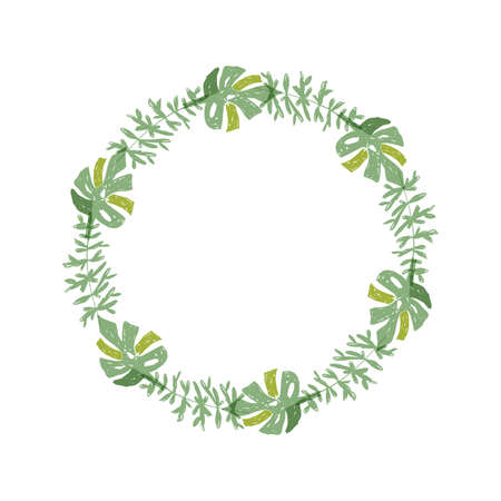 Hand drawn tropical flower composition, greenery botanical wreath. illustration isolated on white background. Floral jungle paradise, exotic plant leaf border
