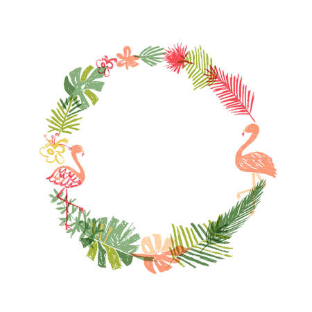 Hand drawn tropical flower and flamingo wreath. illustration isolated on white background. Floral paradise, exotic plant leaf and bird border Stockfoto