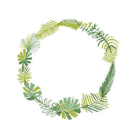 Tropical flower composition, hand drawn circle greenery botanical wreath. illustration isolated on white background. Floral paradise, exotic plant leaf border Stockfoto