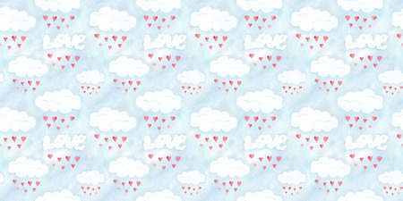 Saint Valentines day seamless pattern, love clouds. Romantic illustration with sky and hearts, hand drawn holiday card decoration, romantic background