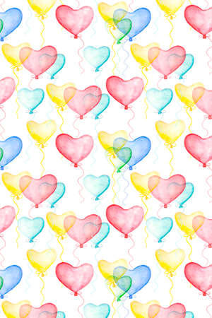 Valentines day background decoration with watercolor air balloons in form of hearts. Hand drawn illustration, love holiday symbol Stockfoto