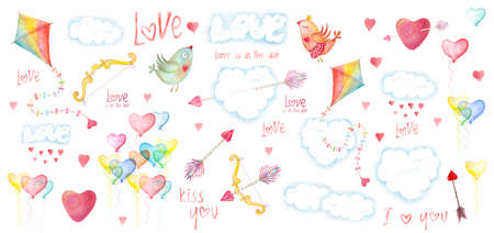 Saint Valentines day card, childish design. Romantic illustration with love birds, hearts and arrows, clouds and kites. Watercolor hand drawn holiday decoration Stockfoto