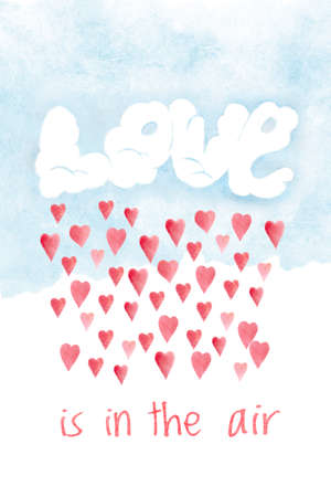 Saint Valentines day card, love is in the air. Romantic illustration with red hearts and clouds, hand drawn holiday greeting