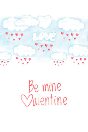 Saint Valentines day card, be mine valentine phrase. Romantic illustration with red hearts and clouds, hand drawn watercolor decoration Stockfoto