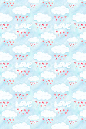 Saint Valentines day pattern, love clouds background. Romantic illustration with sky and hearts, watercolor hand drawn wallpaper, romantic decoration