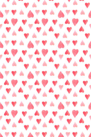 Saint Valentines day card cover with hearts. Watercolor hand drawn illustration, love card design Stockfoto
