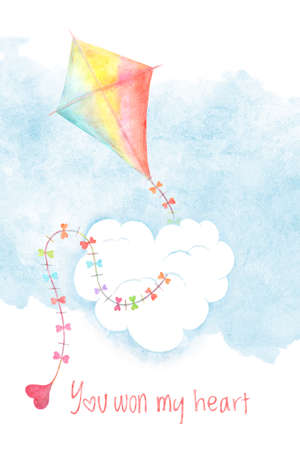Valentines day card cover with watercolor kite and you won my heart phrase. Hand drawn illustration, love holiday design
