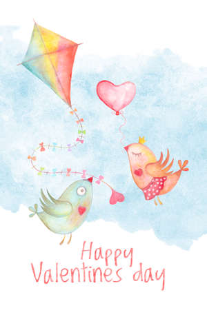 Happy Valentines day card cover with watercolor kite and kissing love birds. Hand drawn romantic illustration Stockfoto