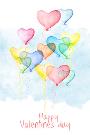 Happy Valentines day face card cover with watercolor air balloons in form of hearts. Hand drawn illustration, love holiday symbol