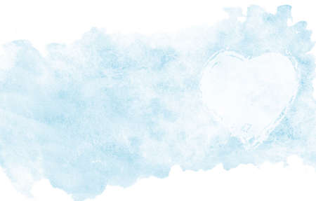 Saint Valentines day watercolor background. Hand drawn illustration with aquarelle clouds in form of heart, love card cover