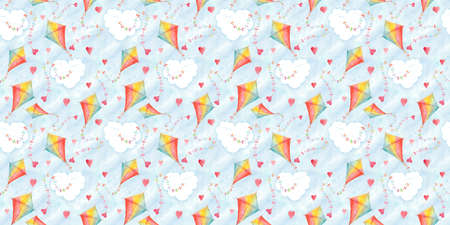 Valentines day seamless pattern with watercolor kites and hearts. Hand drawn illustration, love holiday wallpaper design