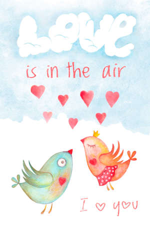 Saint Valentines day card cover with kissing birds and love is in the air phrase. Romantic illustration with watercolor hand drawn design, love symbol