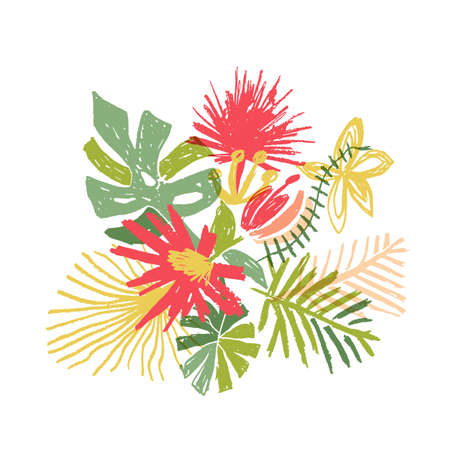 Tropical flower composition, hand drawn illustration isolated on white background. Floral bouquet, exotic plant, doodle style