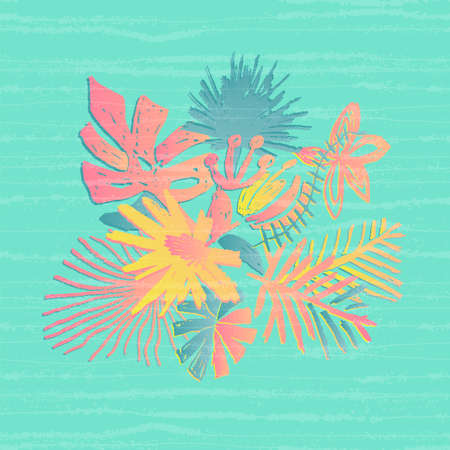 Tropical flower composition, hand drawn leaf, illustration, glitch or noise effect on background. Floral bouquet, exotic plant, doodle style