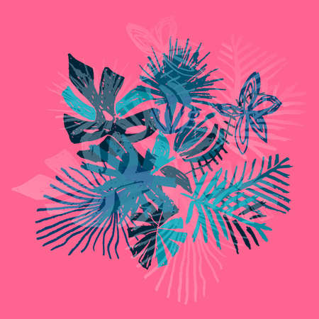Neon tropical flower composition, hand drawn leaf, illustration isolated on pink background, duo tone style. Floral bouquet, exotic plant, doodle art