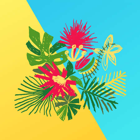 Tropical flower composition, hand drawn jungle exotic plant, illustration isolated on duotone background. Floral leaf bouquet, decoration in doodle style Stockfoto