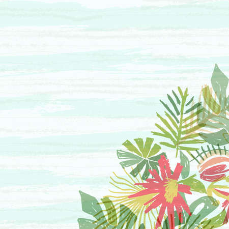 Tropical flower bouquet, hand drawn leaf, illustration isolated on white background with blue aquarelle waves. Botanical composition, exotic plant, watercolor doodle style