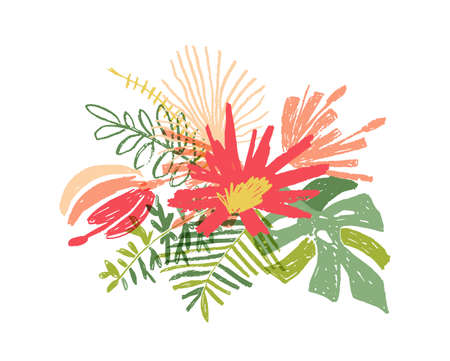 Tropical hand drawn flower leaf composition, illustration isolated on white background. Floral doodle style, paradise bouquet Stockfoto