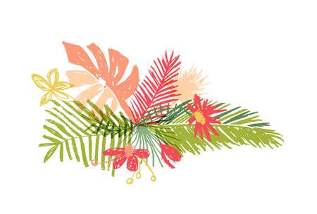 Tropical hand drawn flower leaf composition, illustration isolated on white background. Botanical doodle style, tropic paradise, aloha summer