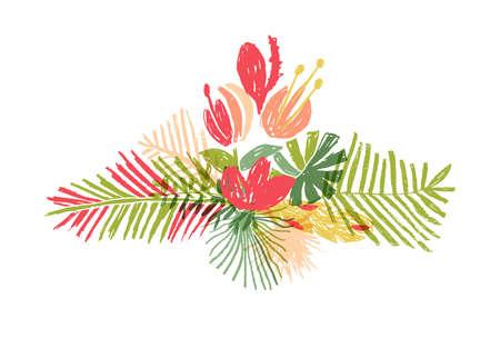 Tropical hand drawn flower leaf bouquet, illustration isolated on white background. Botanical doodle style, tropic paradise, aloha summer