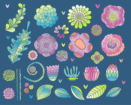 Flower elements set, succulent, rose and leaf vector. Hand drawn floral collection isolated on blue background. Wedding, greeting, invitation card design