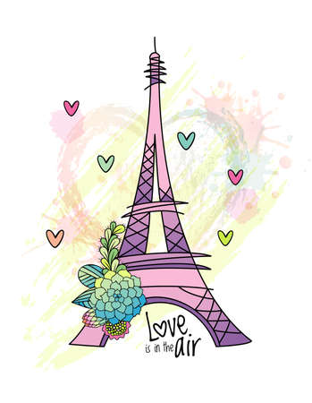 Floral love card design with eiffel tower . Hand drawn succulent flower, leaves, heart and blots