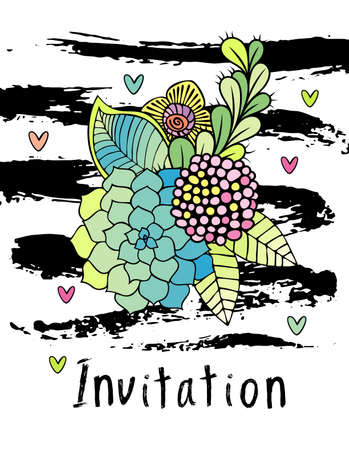 Hand drawn hipster flower invitation card cover, floral . Succulent, rose and leaf on white background with brushstrokes Stockfoto